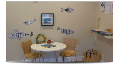 Kids table in office waiting area
